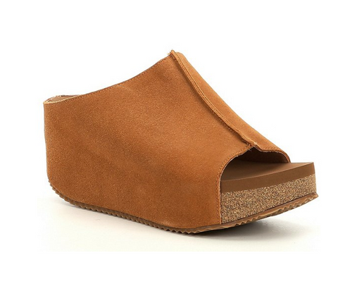 Volatile Carrier Suede Peep Toe Platform Wedges