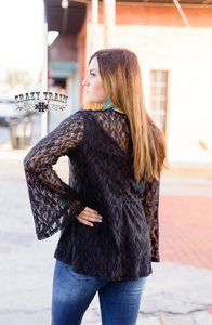 HARTLII BLACK LACE TOP - CRAZY TRAIN CLOTHING