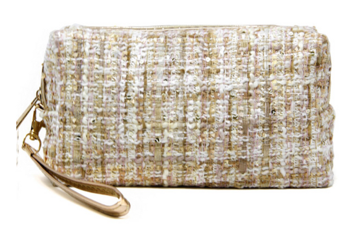 Tweed Cosmetic Bag W/ Detachable Wristlet