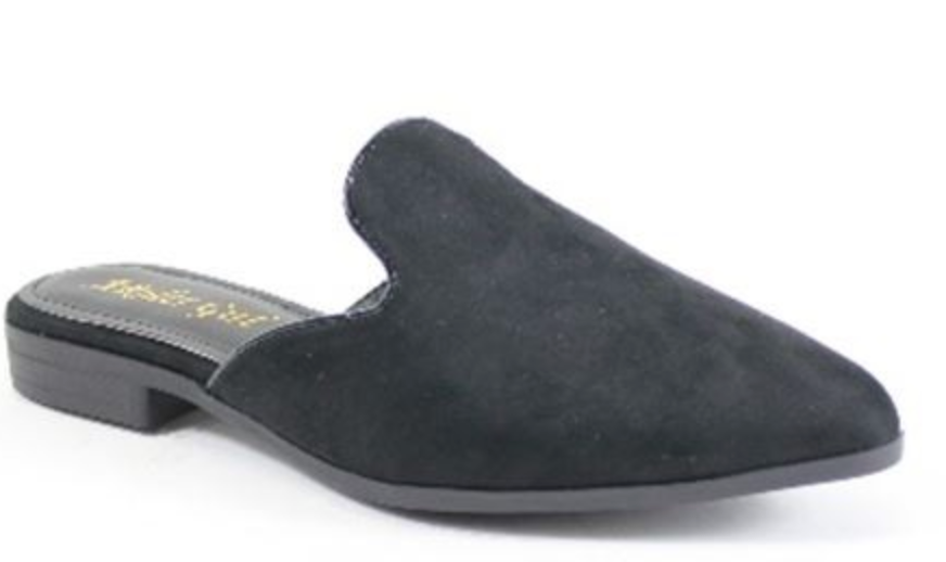 BLACK POINTY SLIDE MULES