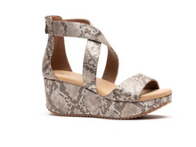 Corkys Fay Taupe Snake Wedge