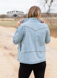 STUD QUEEN DENIM JACKET - CRAZY TRAIN CLOTHING