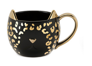 Chloe Black Leopard Cat Mug - Pinky Up