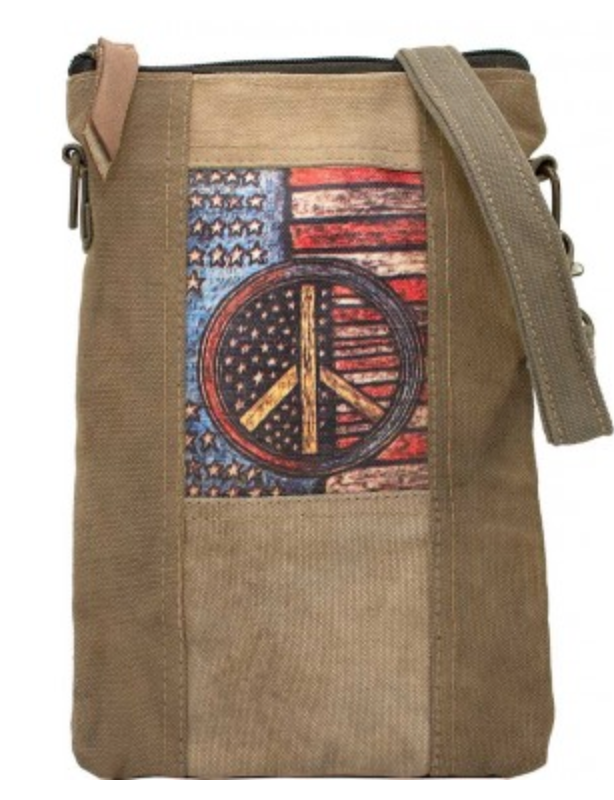 PEACE FLAG RECYCLED TENT CROSSBODY
