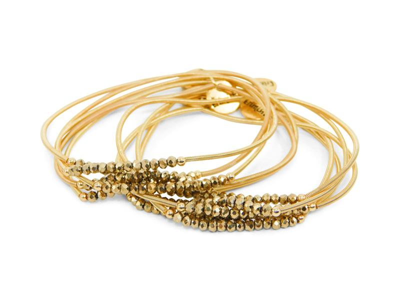 Gold Slinky Stack W/ Gold Beads