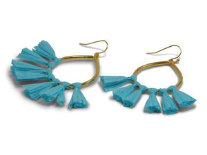 Gold Earrings W/ Turquoise Tassels - Erimish
