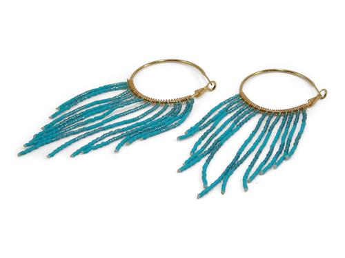 Gold Hoop Earrings W/ Turquoise Beads that dangle - Erimish