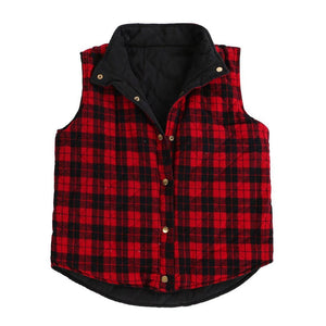 Reversible Quilted Plaid Vest