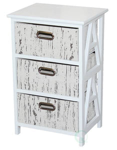 Vintiquewise - Antique Wood Storage Chest Nightstand with 3 Fabric Drawers