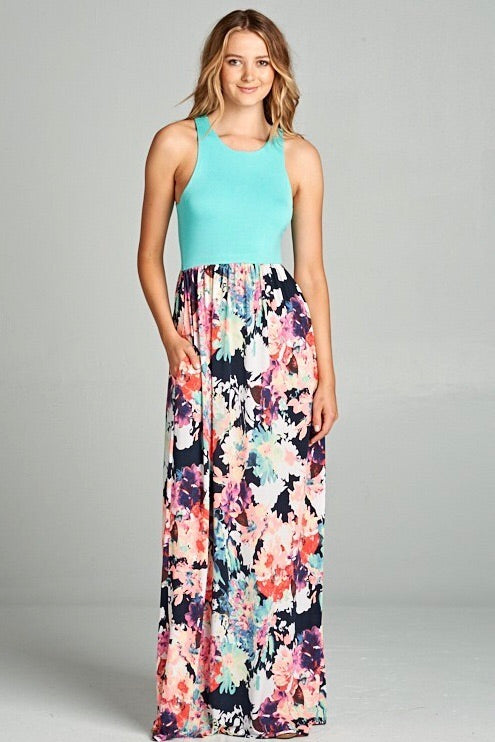 Mint Racer Back & Floral Maxi - New!