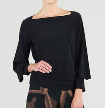 Solid Rectangular Boat Neck Peekaboo Cuff Sleeve Top - Black - Clara Sun Woo