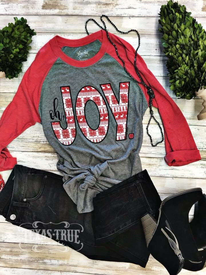 """Oh Joy"" Red Baseball Tee"