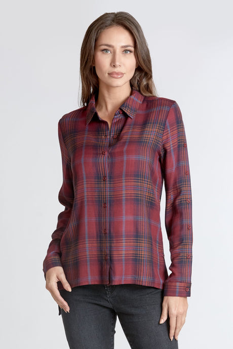 EDEN PLAID BUTTON UP SHIRT MULBERRY - Dear John