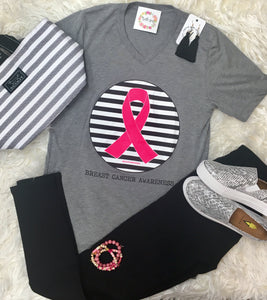 Breast Cancer Awareness Tee - Neon Pink Ribbon