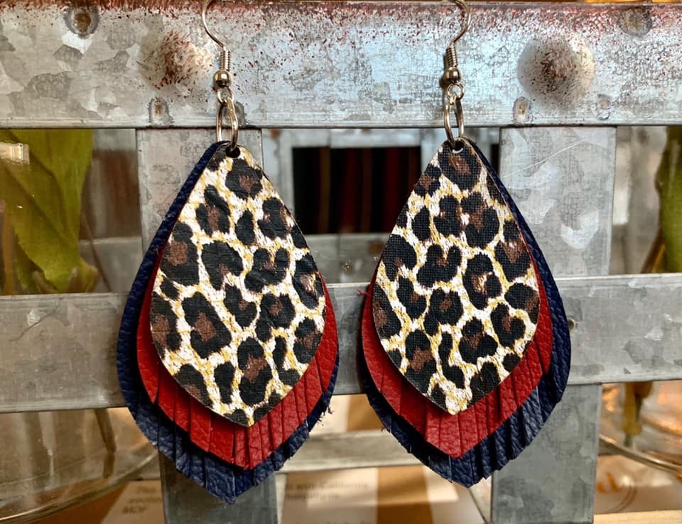 Leopard, Red, & Navy Stacked Earrings