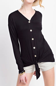 Long Sleeve Front Button w/ Tie