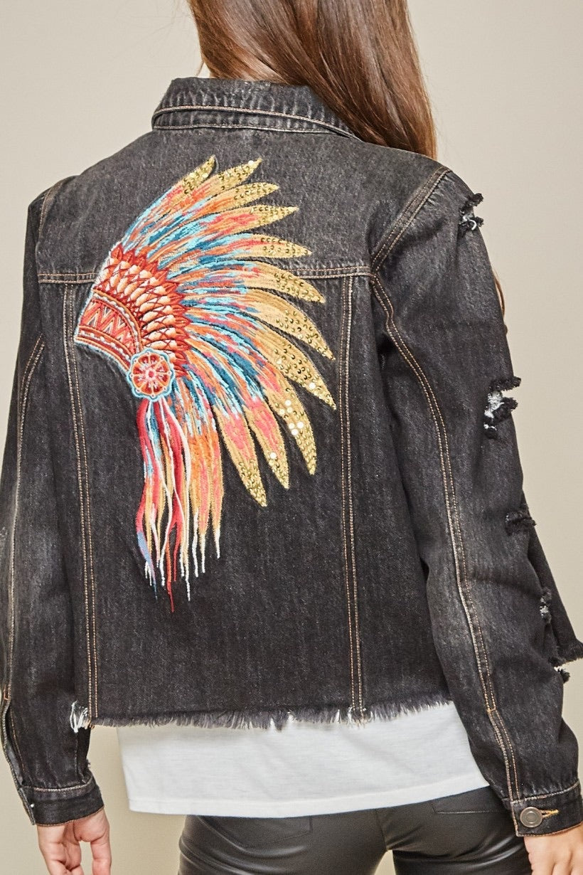 Black Denim Featherhead Jacket