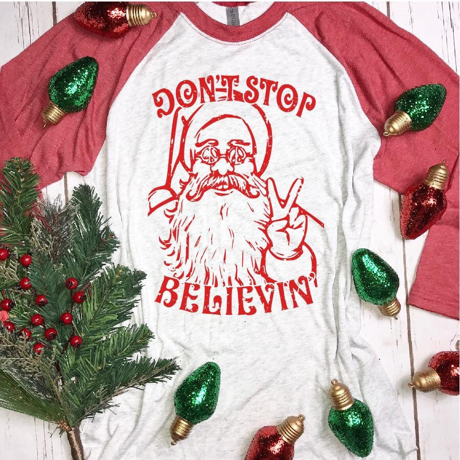 DON'T STOP BELIEVIN' BASEBALL TEE