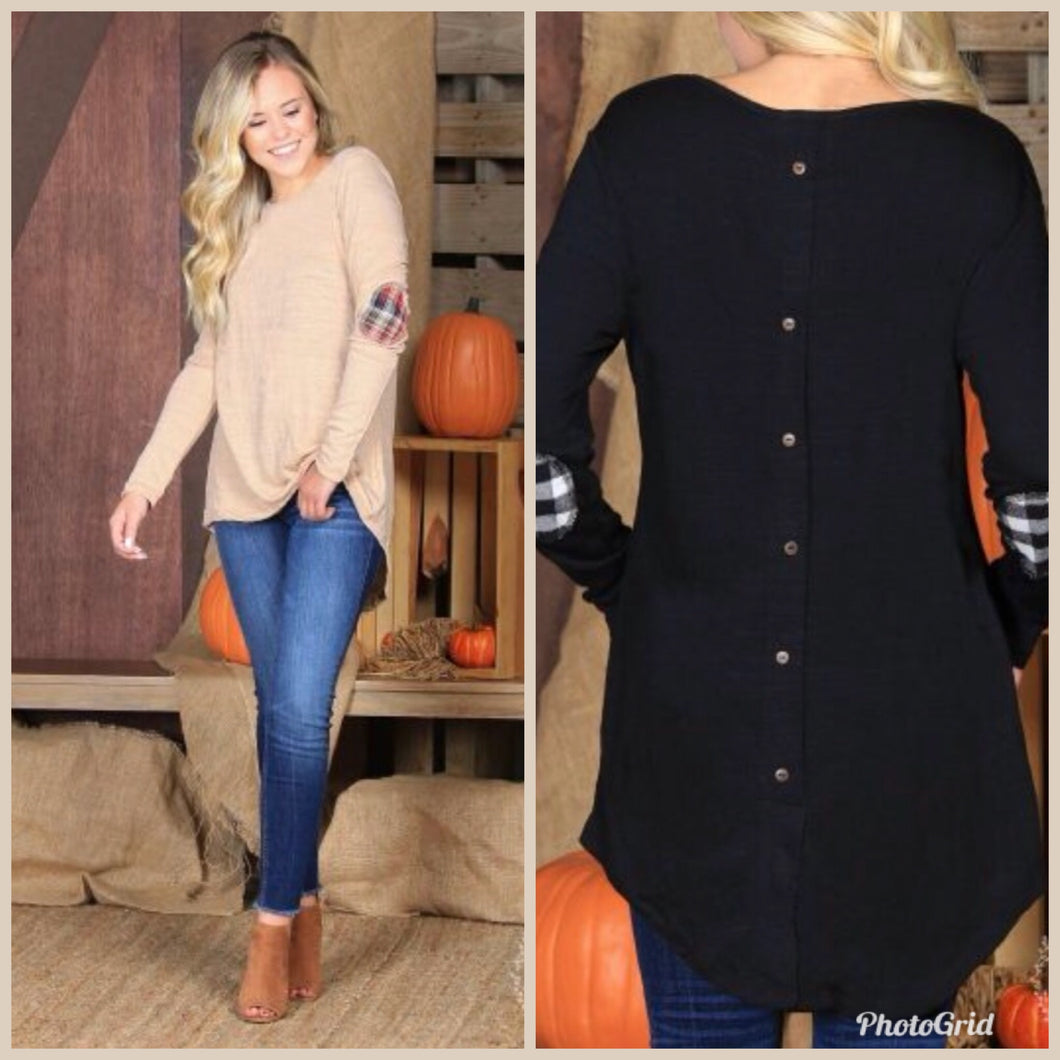 Long Sleeve Button-Back Tee with Plaid Elbow Patches
