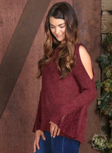 Ribbed Knit with Cold Shoulder and Bell Sleeve