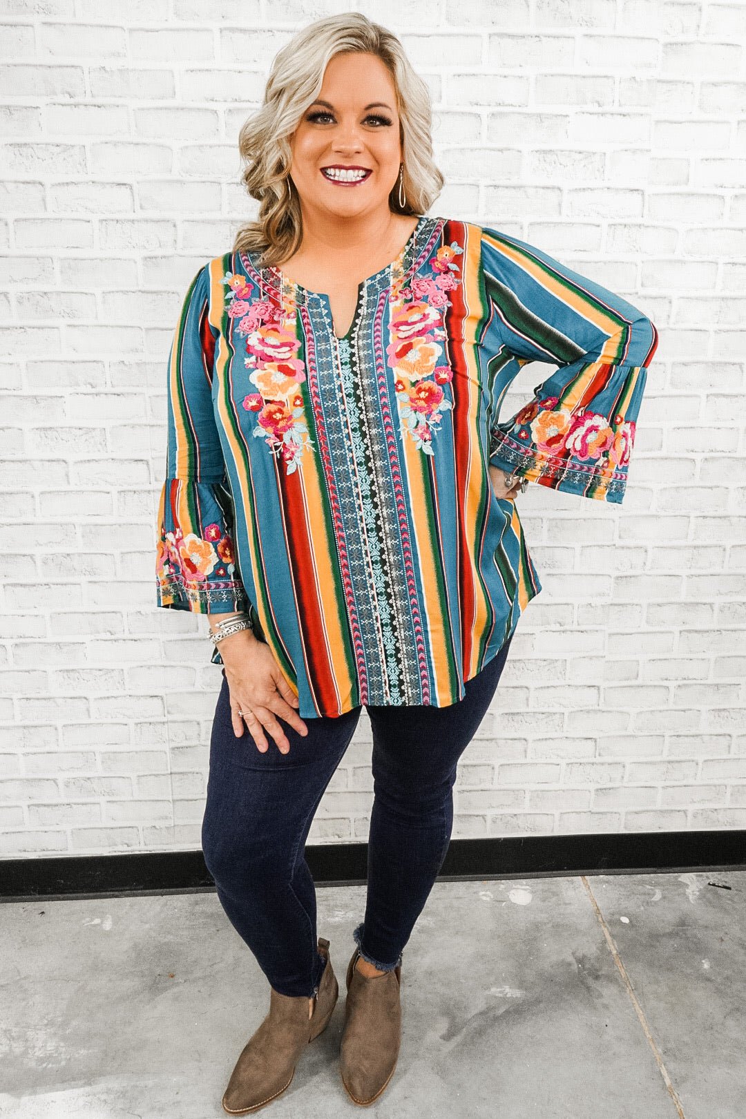 Party Stripes with Floral Embroidery Top
