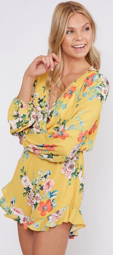Yellow & Floral Romper with Ruffles
