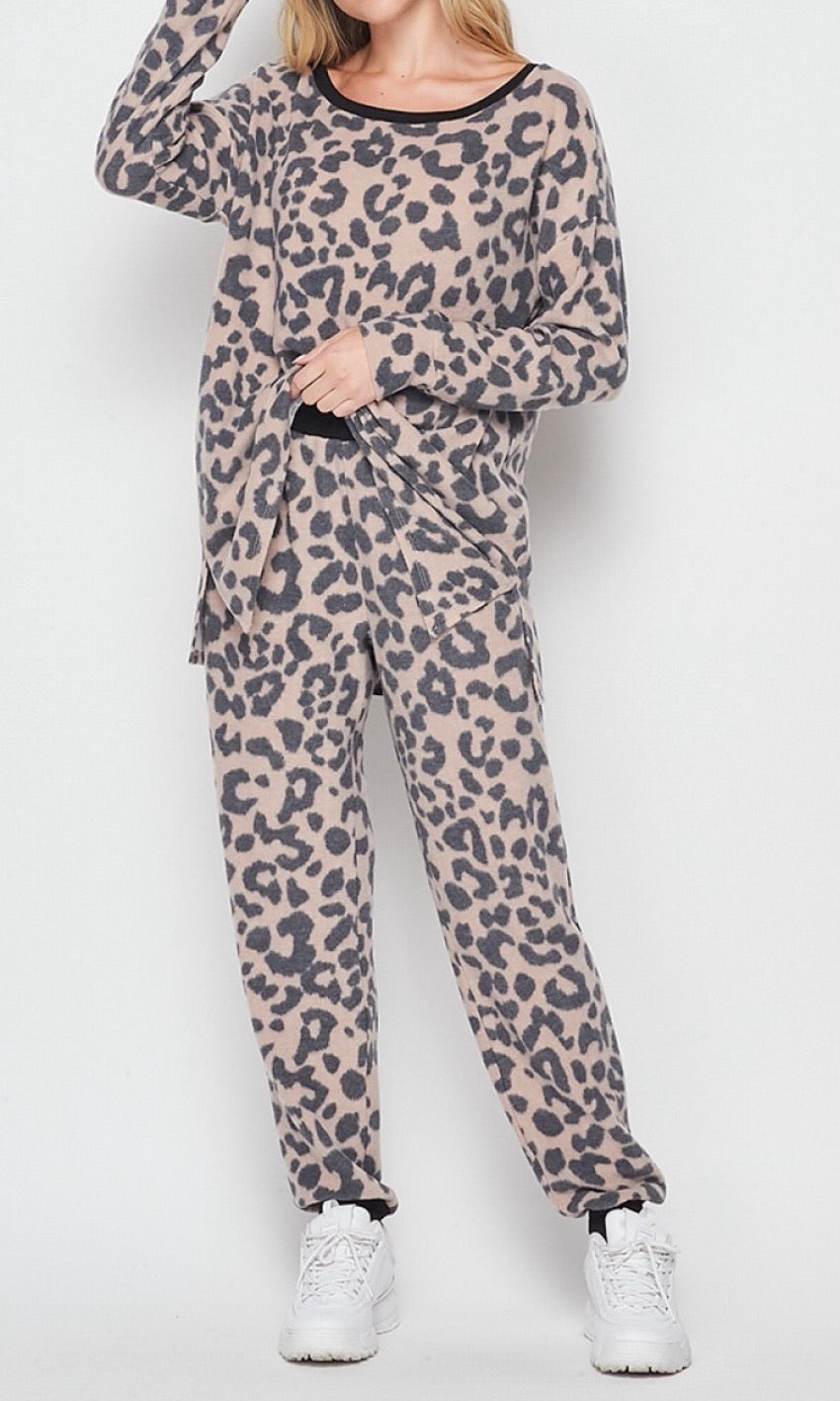 Leopard & Taupe Lounge Set