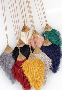Gold Toned Necklace with Soft Tassel