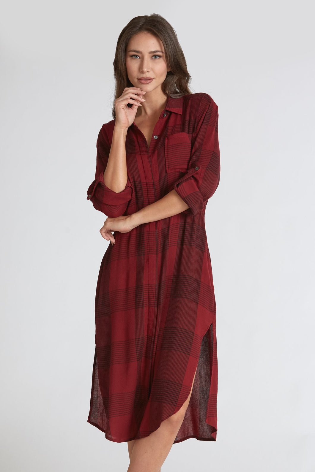 CASSANDRA LONGLINE SHIRT DRESS MAROON/BLACK - Dear John