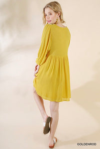 Golden Yellow Embroidered Dress - New!