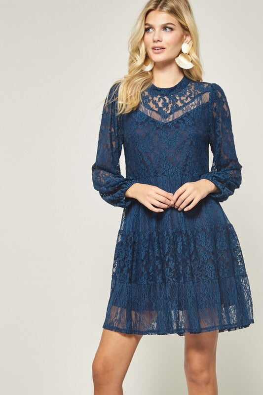 Navy Lace Longsleeve Dress
