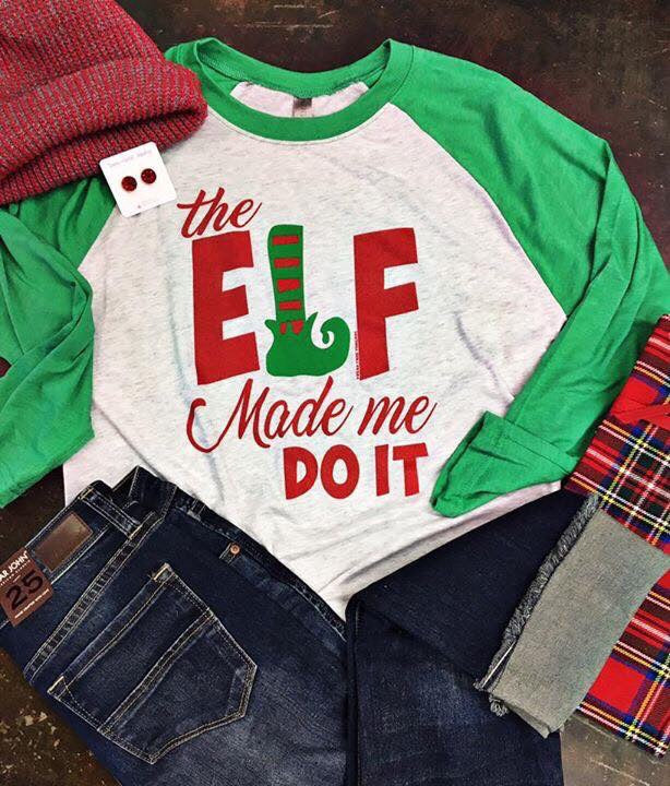 THE ELF MADE ME DO IT BASEBALL TEE