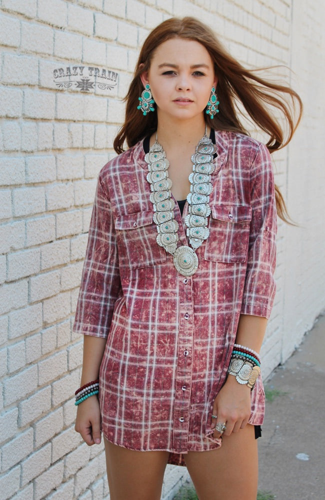 RED PATSY PLAID TUNIC - Crazy Train Clothing