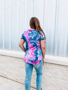 Purple Tie Dye V-Neck Top