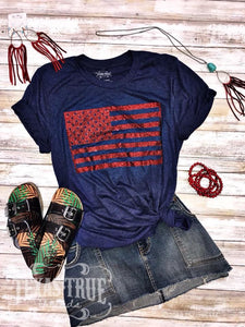 Red Glitter USA Flag Tee