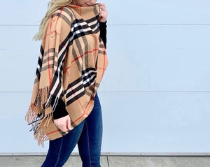 Classic English Plaid Button Scarf