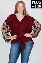 Striped Puff Sleeve with Tie Front Top - Wine