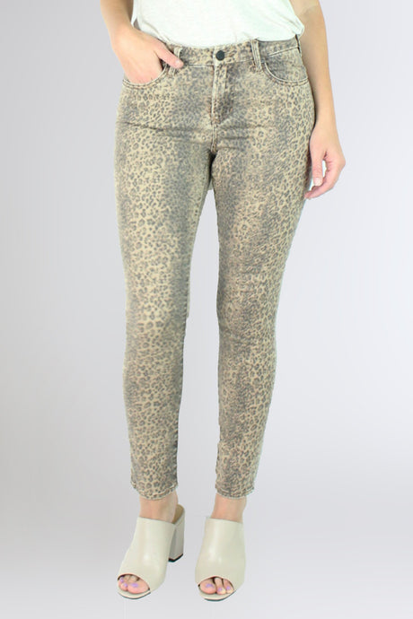 GISELE HIGHRISE ANKLE SKINNY SNOW LEOPARD - Dear John Clothing
