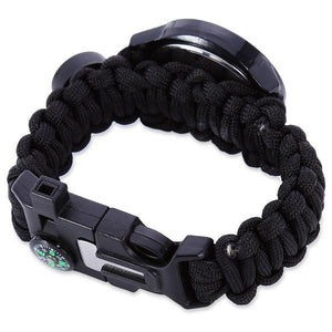 Lancastor Outdoor Survival Tactical Watch with Paracord Fire Starter