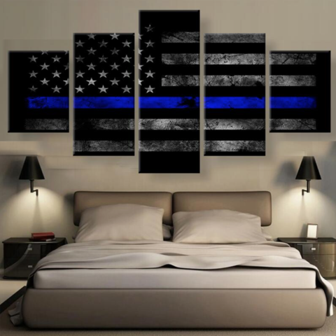 5 Panel American Thin Blue Line Canvas