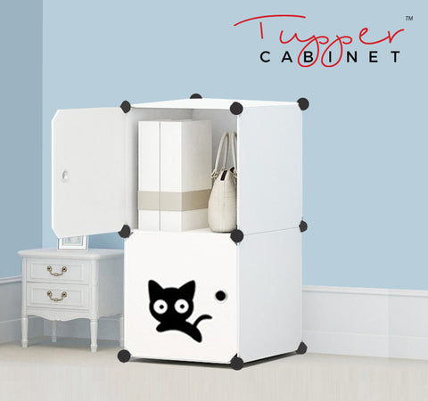 Tupper Cabinet Pure Solid White Cutie Cat Storage Cabinet