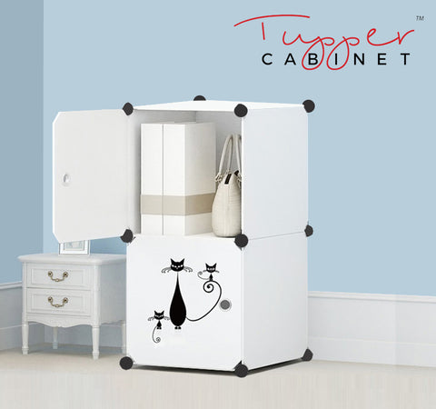 Tupper Cabinet Pure Solid White Lazy Cat Storage Cabinet