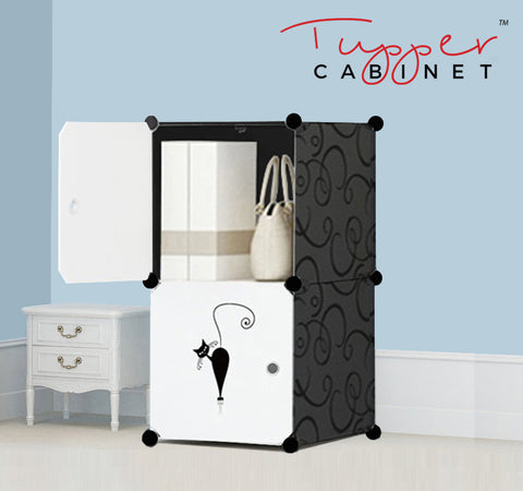 Tupper Cabinet Elegant Black Lazy Cat Storage Cabinet