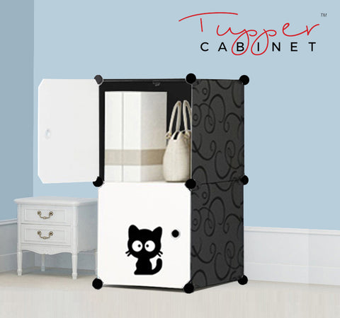 Tupper Cabinet Elegant Black Cutie Cat Storage Cabinet-Extra Large