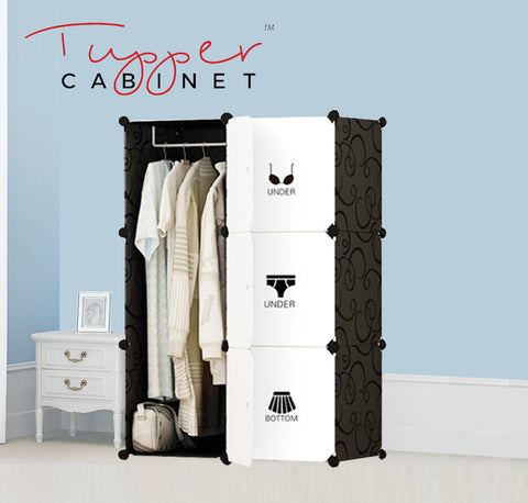 Tupper Cabinet  Elegant Black Attire Label Wardrobe Organizer