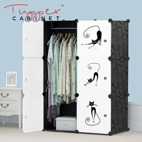 Tupper Cabinet  Elegant Black Lazy Cat Wardrobe Organizer