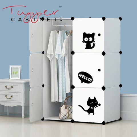 Tupper Cabinet  Pure Solid White Cutie Cat Wardrobe Organizer