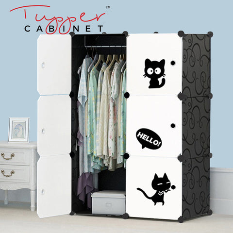 Tupper Cabinet Elegant Black Cutie Cat Wardrobe-Extra Large