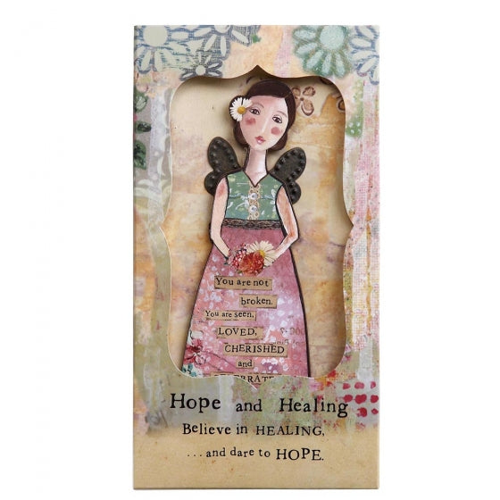 KELLY RAE ROBERTS - HOPE  AND HEALING ANGEL ORNAMENT WITH PHOTO FRAME GIFT CARDS