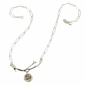 "Wishnest 19"" Silver-Tone (Branch, Nest with 1 Gray Seed Pod Necklace)"